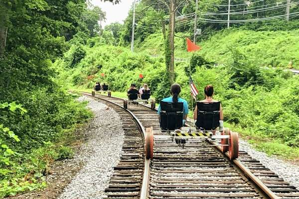 The Essex Steam Train's rail-bike ride proved to be a hit during the pandemic summer.