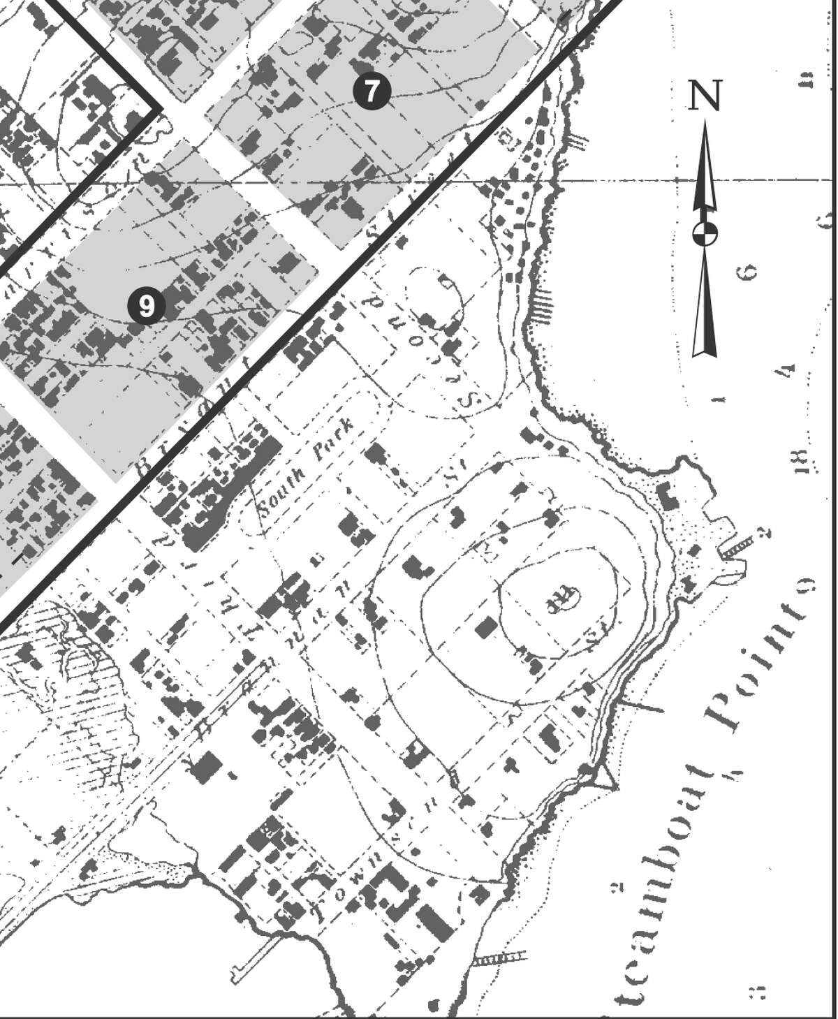 This historic map shows the South End as it originally functioned: the SF commercial waterfront.