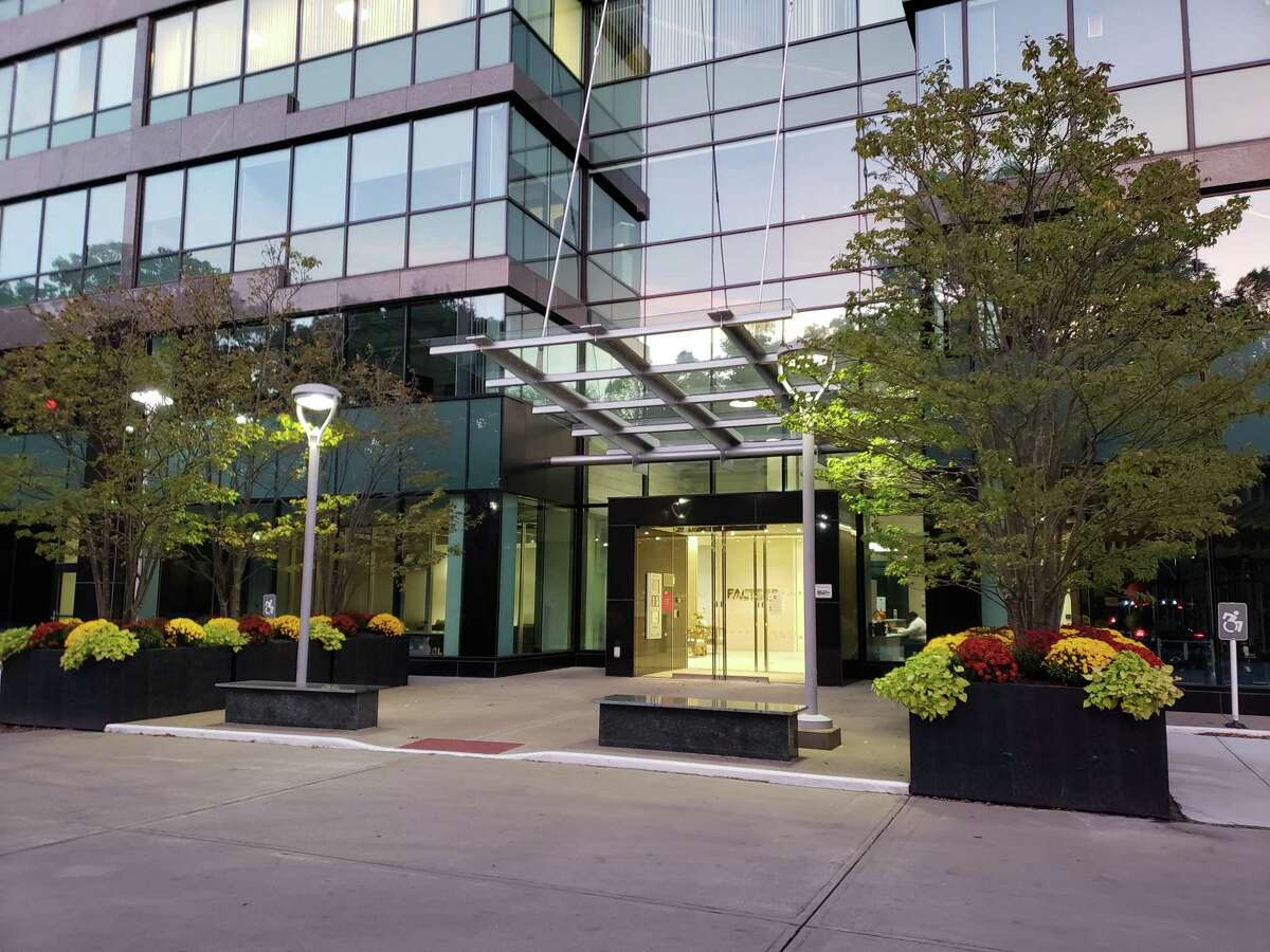 The entrance to 45 Glover Ave. in Norwalk, Conn., with FactSet and Terex having their headquarters offices in The Towers complex building. (Photo courtesy Terex)
