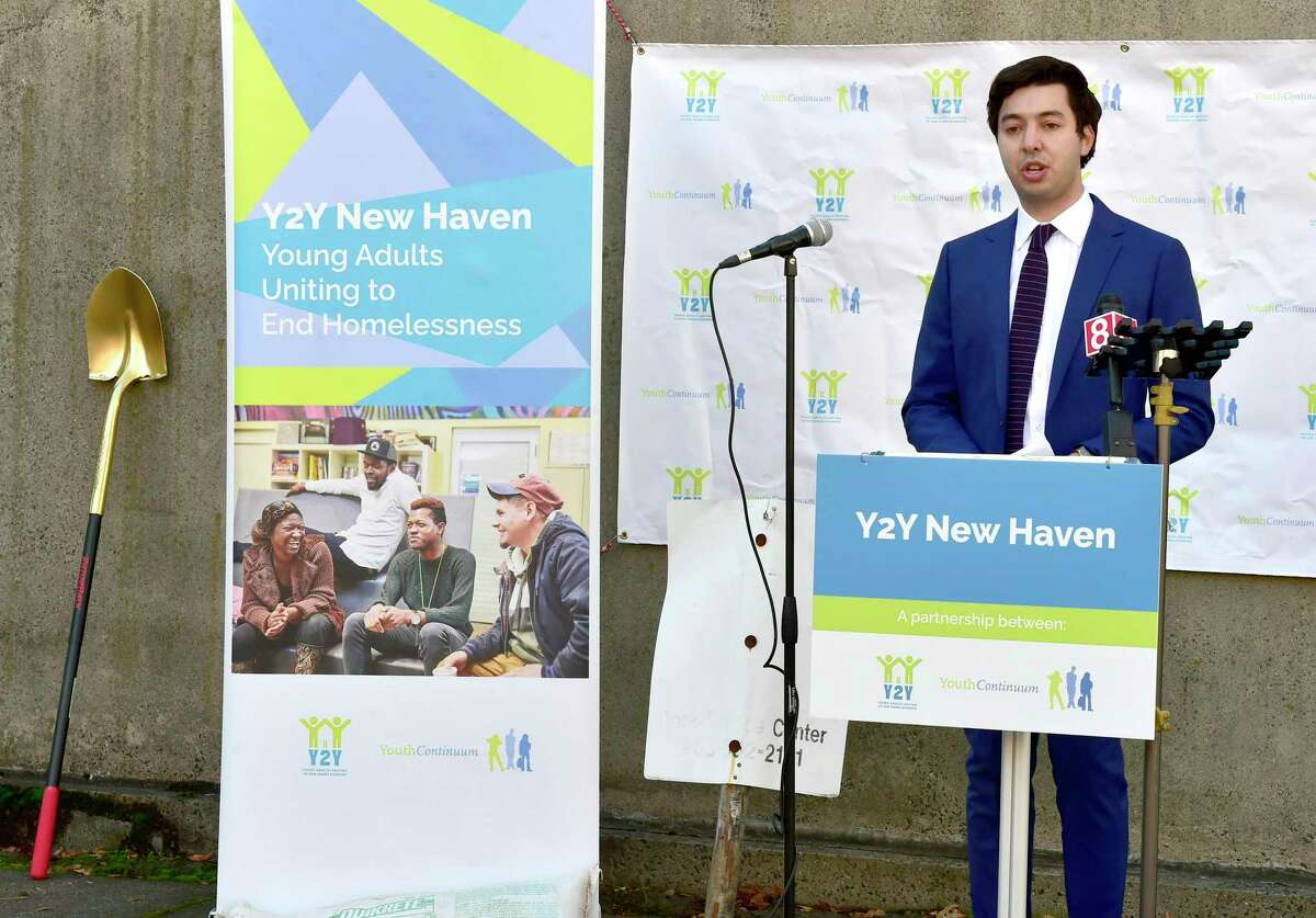 Sam Greenberg, founder of Y2Y New Haven, speaks during a ground-breaking ceremony Dec. 15 for Y2Y New Haven, a $4.5 million project to transform a Grand Avenue counseling center into a national model for helping homeless youth find urgently needed housing and services.