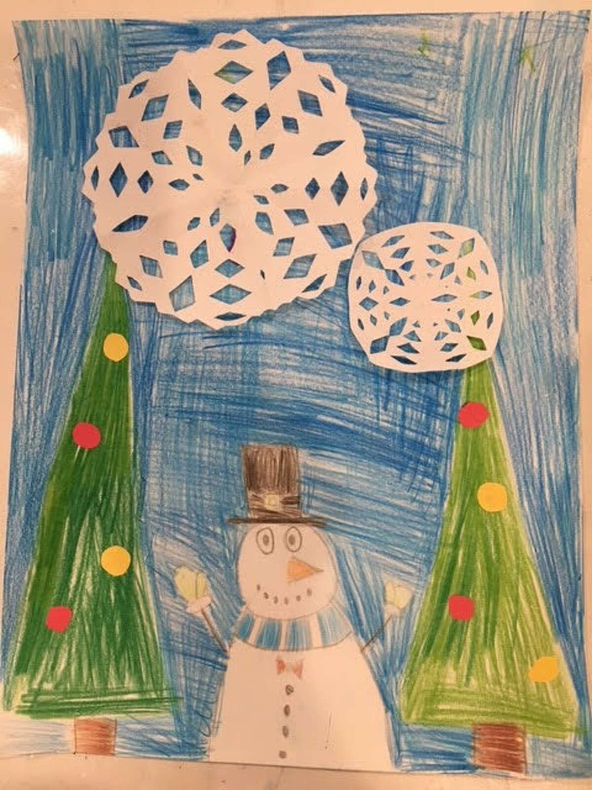 Finalist entry in the 2020 holiday card contest by Andrew Sokolowski, 2nd grade at Voorheesville Elementary School.