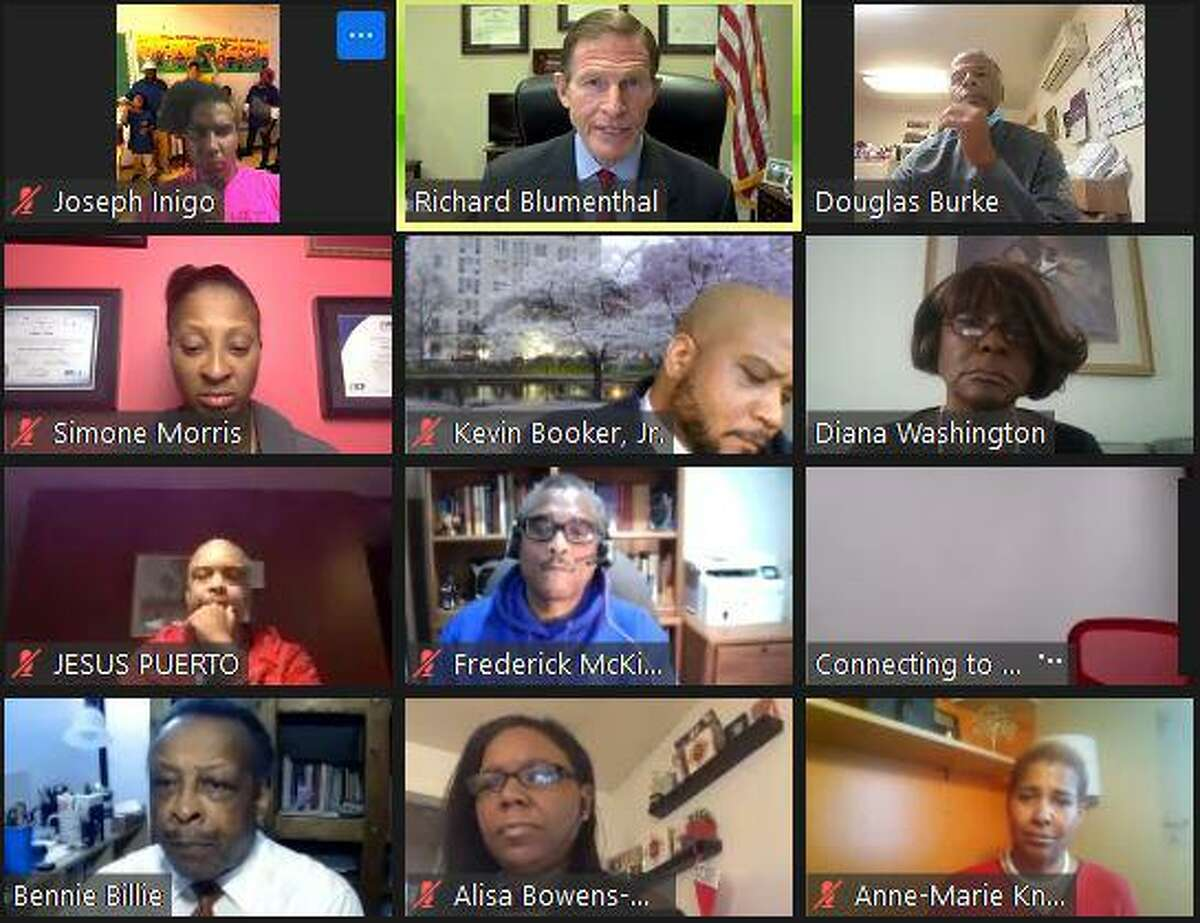Sen. Richard Blumenthal, center of top row, held an online forum on Wednesday, Dec. 16, 2020 with Black business owners from across Connecticut.