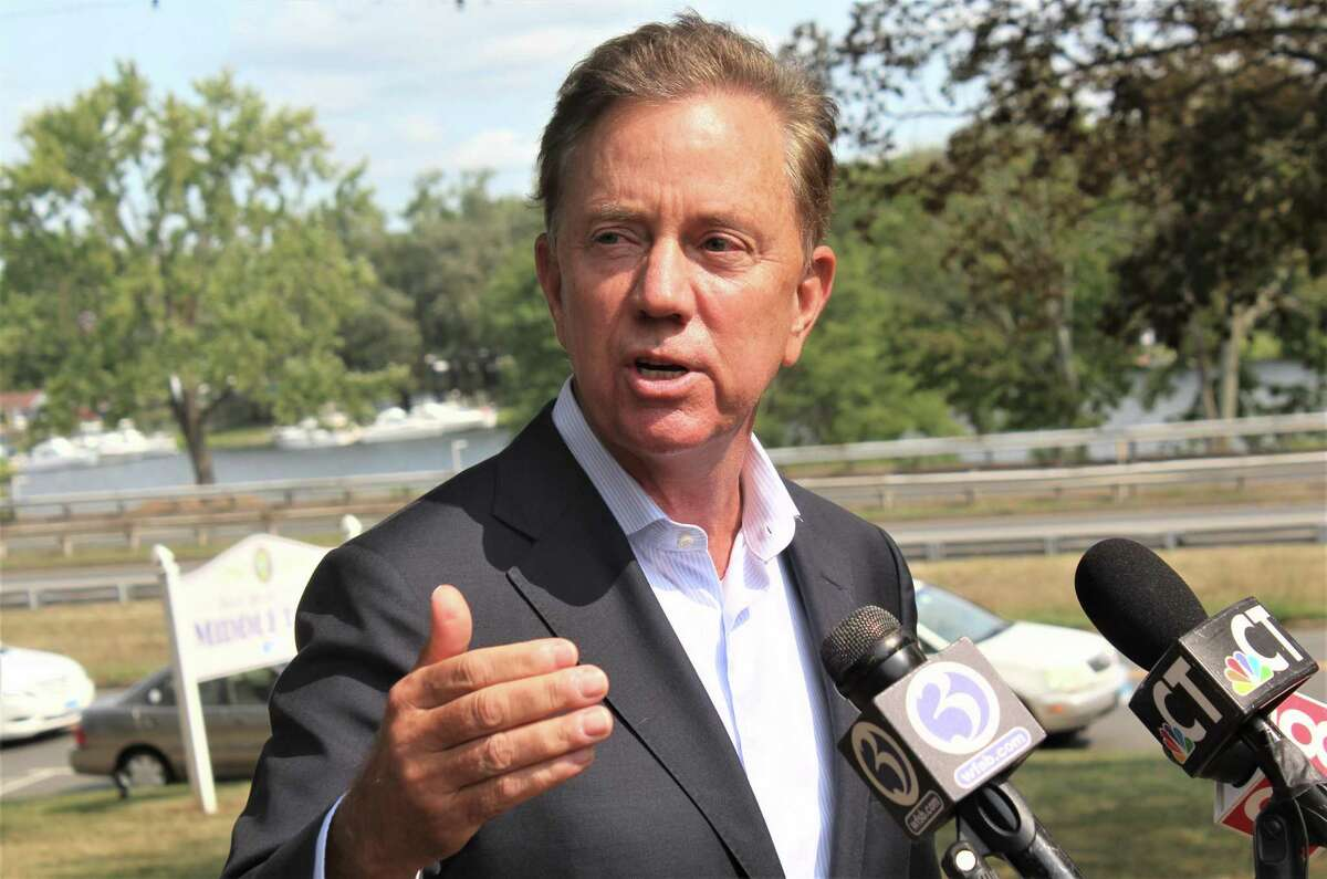 Gov. Ned Lamont was the main speaker at Wednesday afternoon's Middlesex County Chamber of Commerce virtual meeting. Here, the governor is seen outside Middletown City Hall during a mid-September visit.