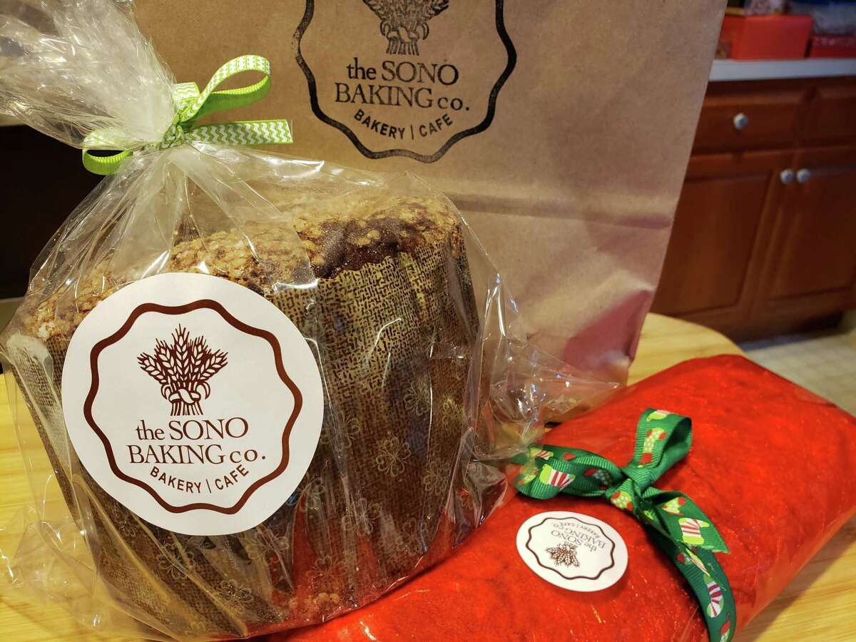 Orange-chocolate panettone and Dresden style Stollen from SoNo Baking Company in South Norwalk.