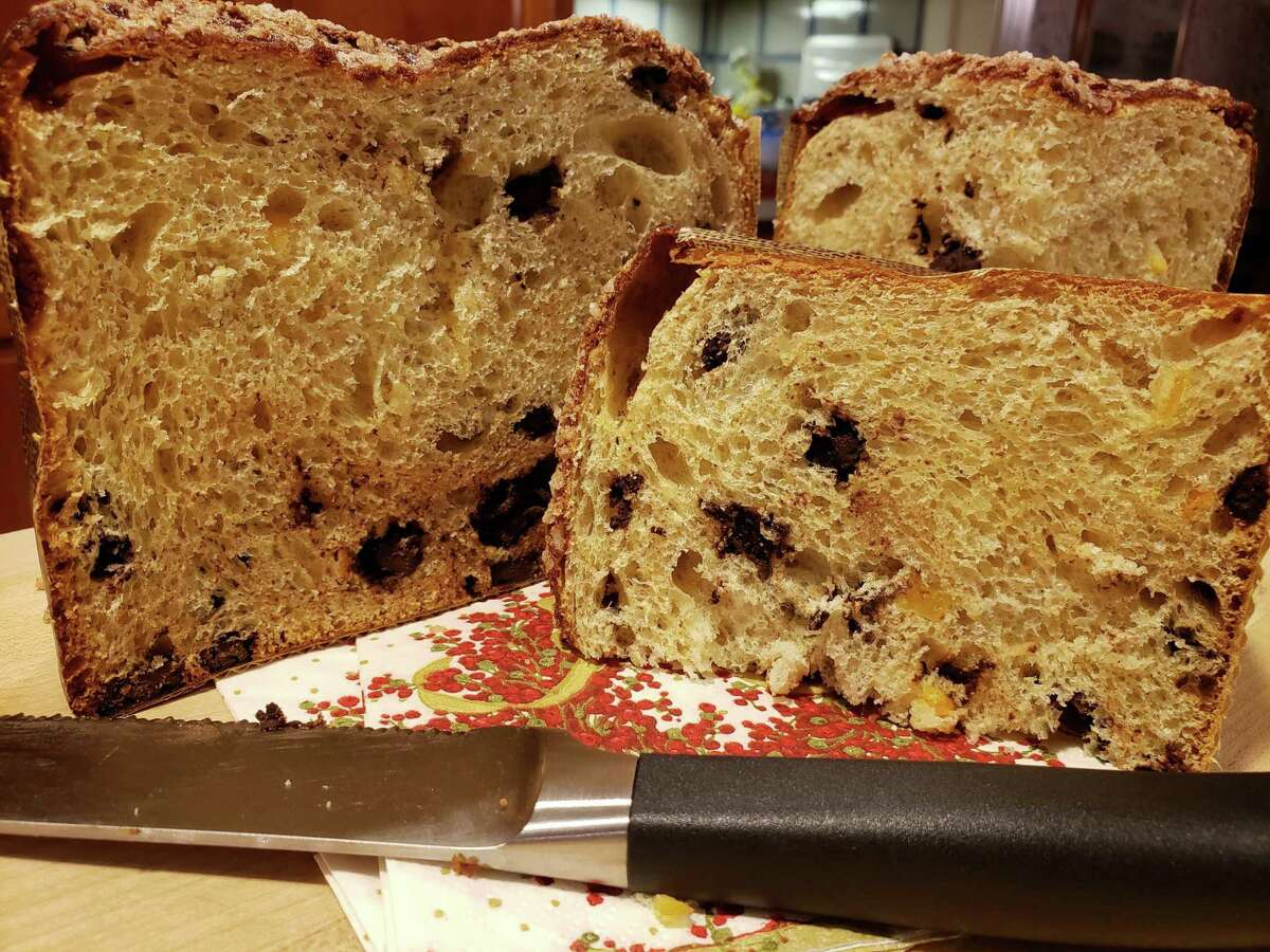 The light natural yeast crumb of SoNo Baking Company's orange-chocolate panettone is studded with dark chocolate and fresh orange zest.
