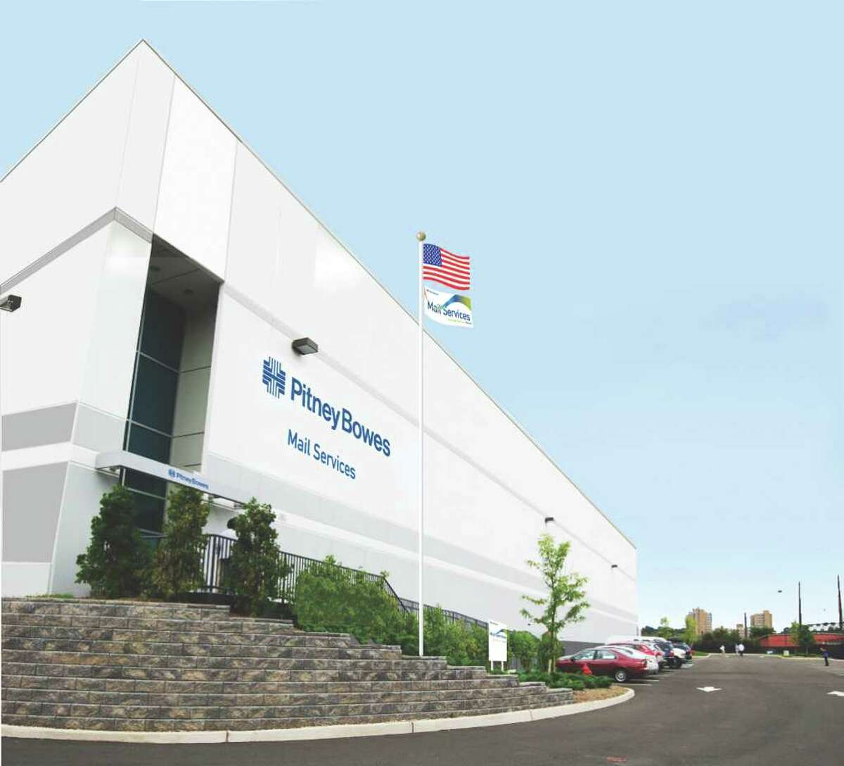 This rendering shows a Pitney Bowes Inc.'s mail services center. The Stamford company in November will open a new 40,000-square-foot mail services facility where 30 employees will be able to presort more than 40 million pieces of first-class letter mail and Standard-Mail in its first year of operation.