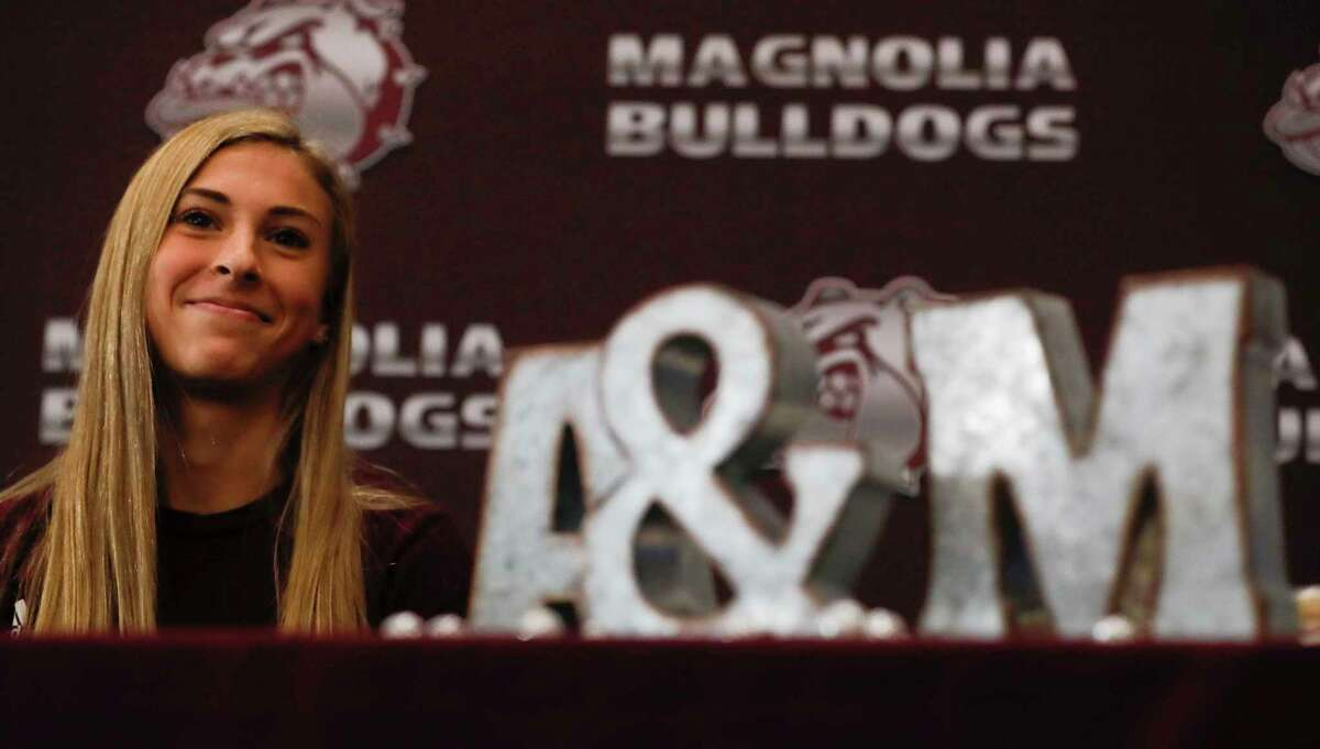 Emma Ellis signed to run cross country for Texas A&M during a signing ceremony at Magnolia High School, Wednesday, Dec. 16, 2020, in Magnolia.