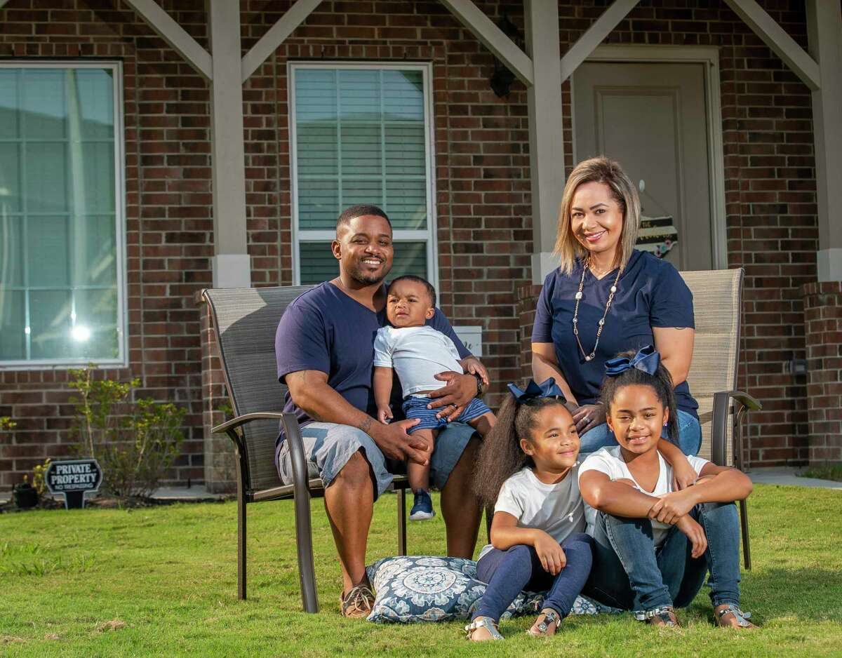 Michael and Destiny Darden and their three children, Brielle, 8, Brayleigh, 6, and Tristen, 1, rented a new 4-bedroom, 3.5-bath house in Bay Colony Pointe West in April when their apartment lease was up in League City.
