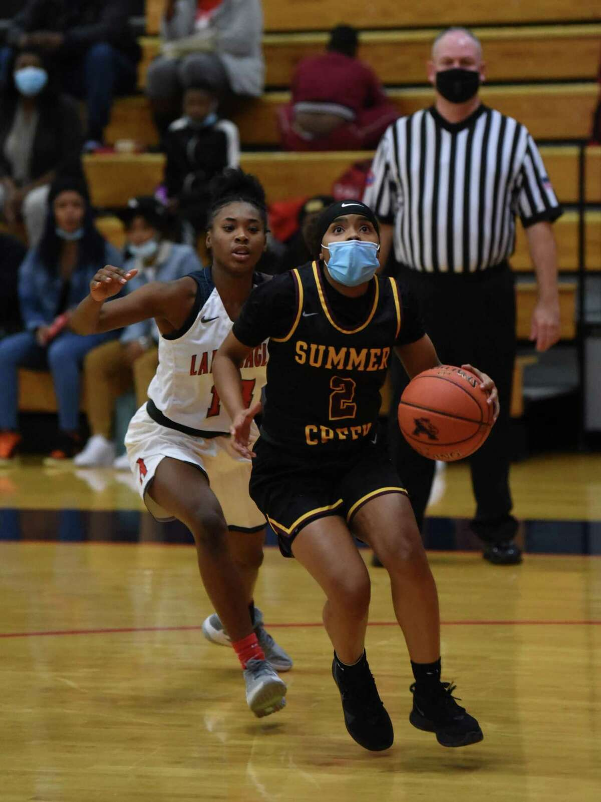 Summer Creek guard Alayia Francis drive to the basket for a layup in the District 21-6A opener against No. 20 Atascocita at the Eagles gym.
