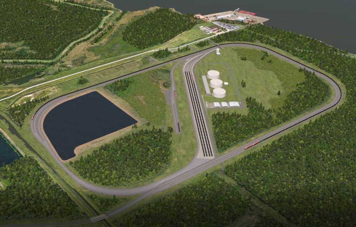 A digital rendering shows the Port Arthur being built near Motiva Enterprises on the Sabine-Neches Waterway for US Development Group. The terminal will be able to move and receive heavy crude and other materials headed to the U.S. Gulf Coast from Canada.