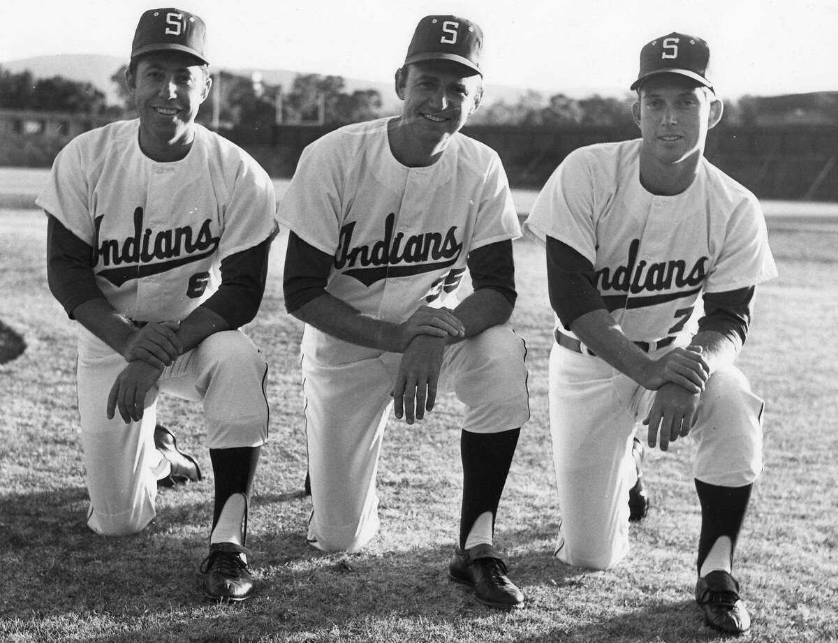 From left, Stanford head coach Ray Young, pitching coach Tom Dunton and assistant coach Mark Marquess wearing the Indians uniform in 1971. The university dropped the nickname in 1972 after a protest movement by Native American students.