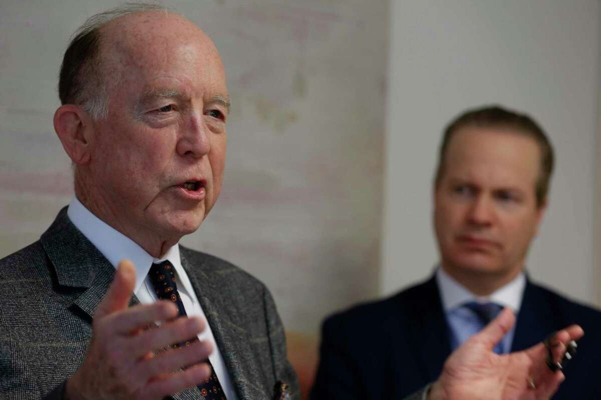 Dr. Steven Hotze (l-r), attorney and former Harris County Republican Party Chair Jared Woodfill held a press conference to discuss his election fraud claims and answer questions about the arrest of an ex-cop who he hired to investigate the claims Wednesday, Dec. 16, 2020, in Houston.