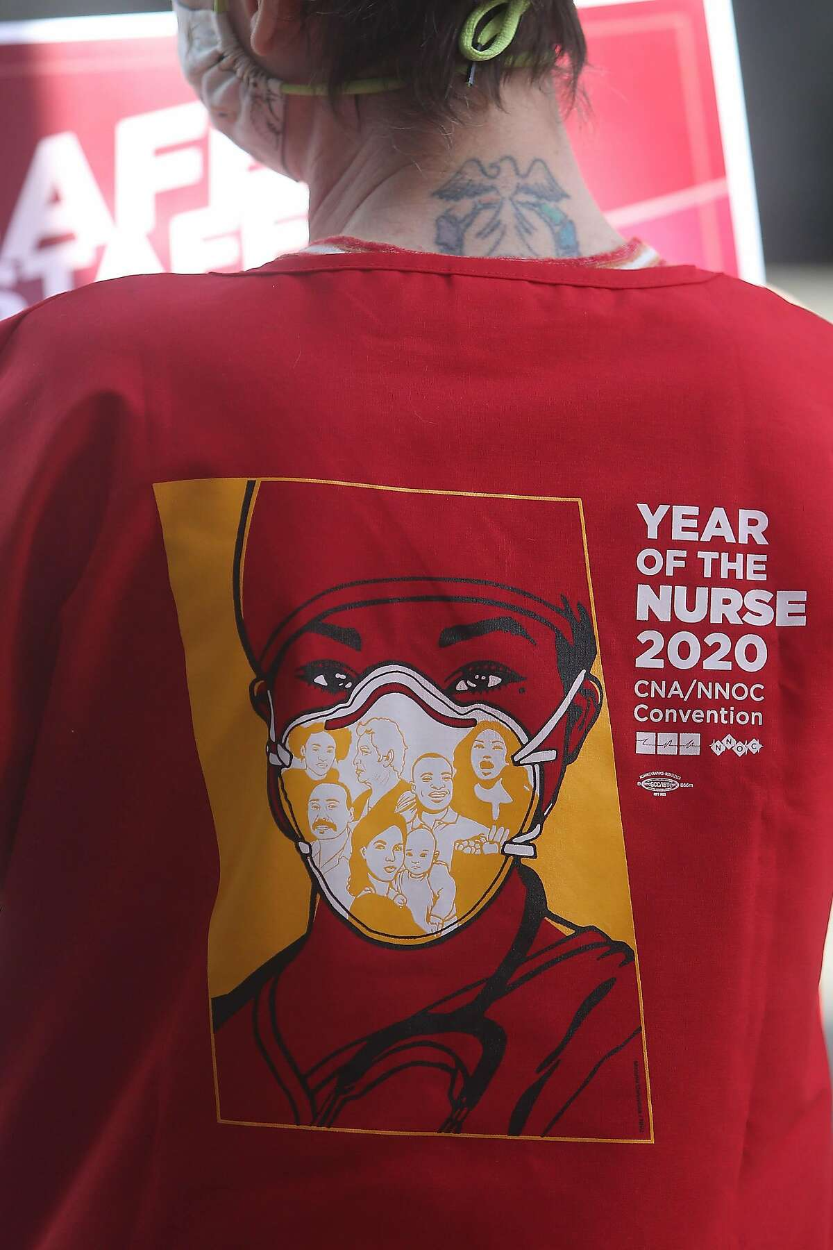 CPMC nurse Katie VanSchoick's top reads Year of the Nurse as she protests the waivers.