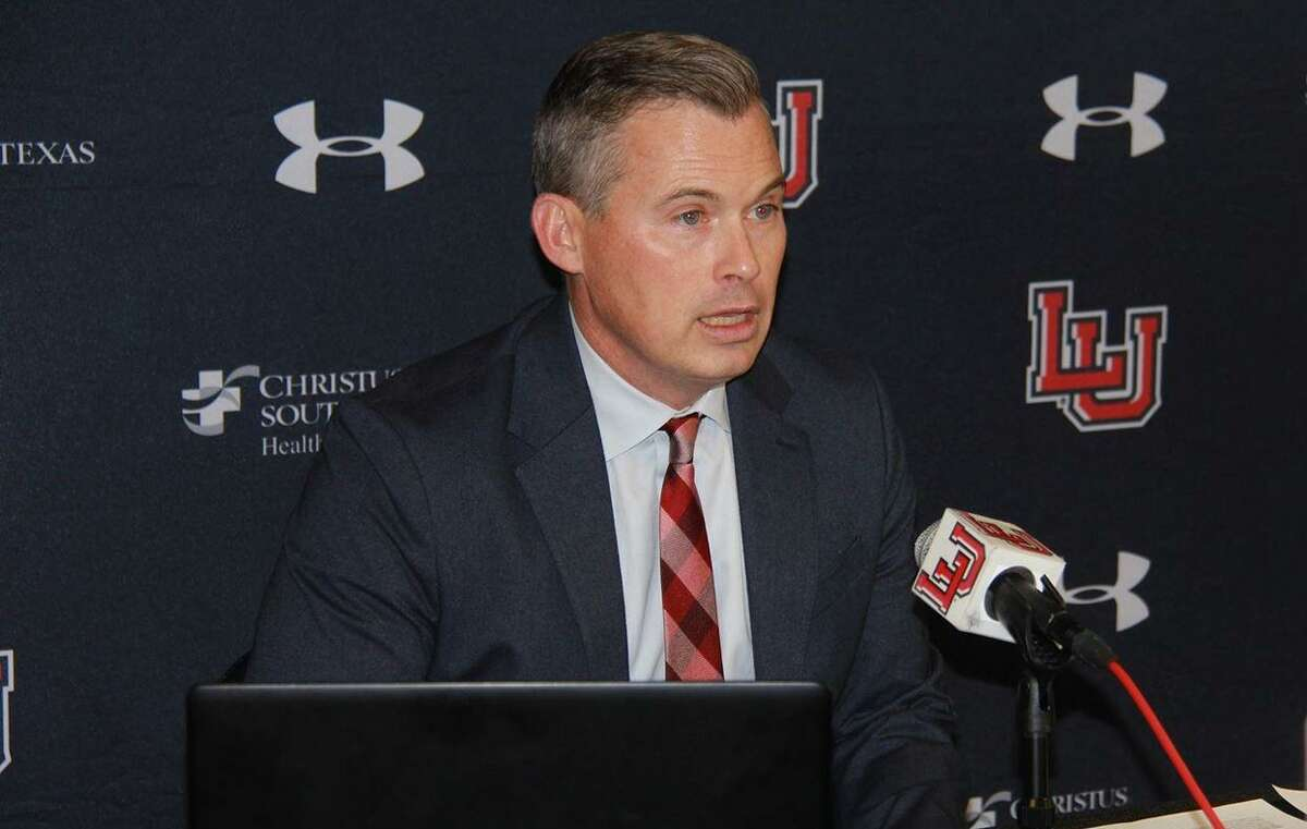 Lamar football coach Blane Morgan speaks to the media Wednesday after signing 23 players to his program.