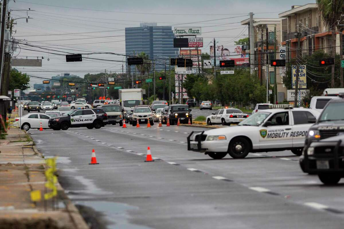 Westheimer Road closed to morning traffic because of a fatal crash that took the life of a woman in a wheelchair Dunlavy and Westheimer Road on Sept. 28, 2020, in Houston.