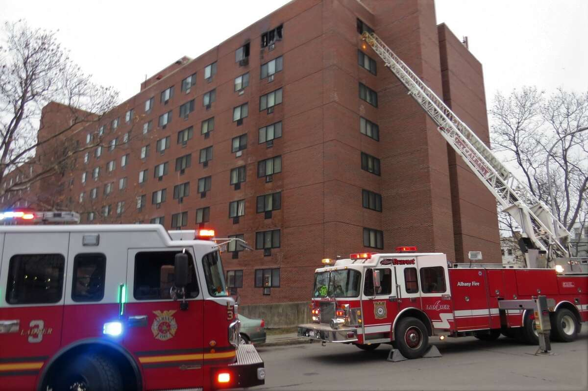 Albany firefighters responded to a fire at South Mall Towers on South Pearl Street Wednesday, Dec. 16, 2020.
