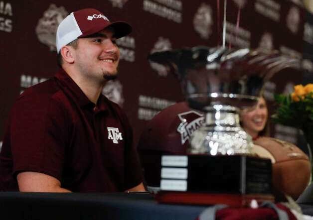 Matthew Wykoff signed to play football for Texas A&M during a signing ceremony at Magnolia High School, Wednesday, Dec. 16, 2020, in Magnolia. Photo: Jason Fochtman, Staff Photographer / 2020 © Houston Chronicle