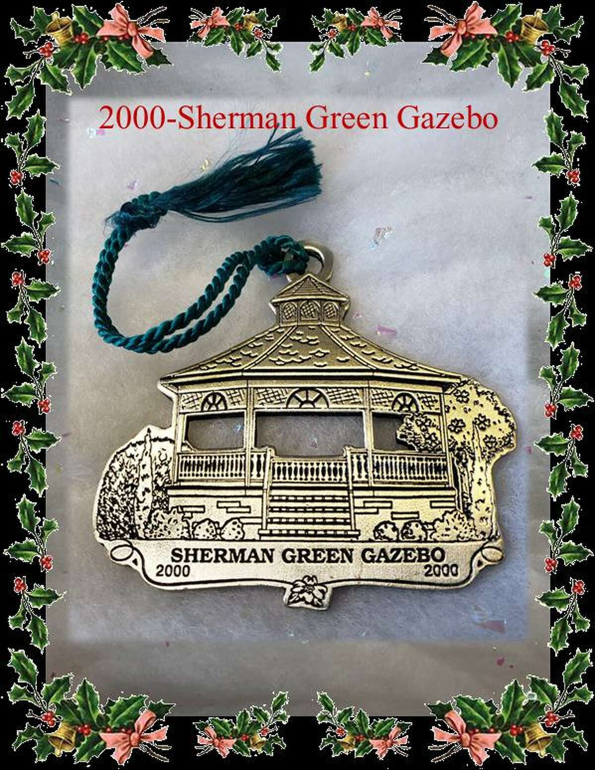Six different Holiday ornaments from the company Woodbury Pewter, and of historic landmark buildings in Fairfield are available for purchase from the Fairfield Chamber of Commerce. The ornaments are $20 each, or $100 for a set of six ornaments. Pictured is one of the ornaments, the 2000 Sherman Green Gazebo.