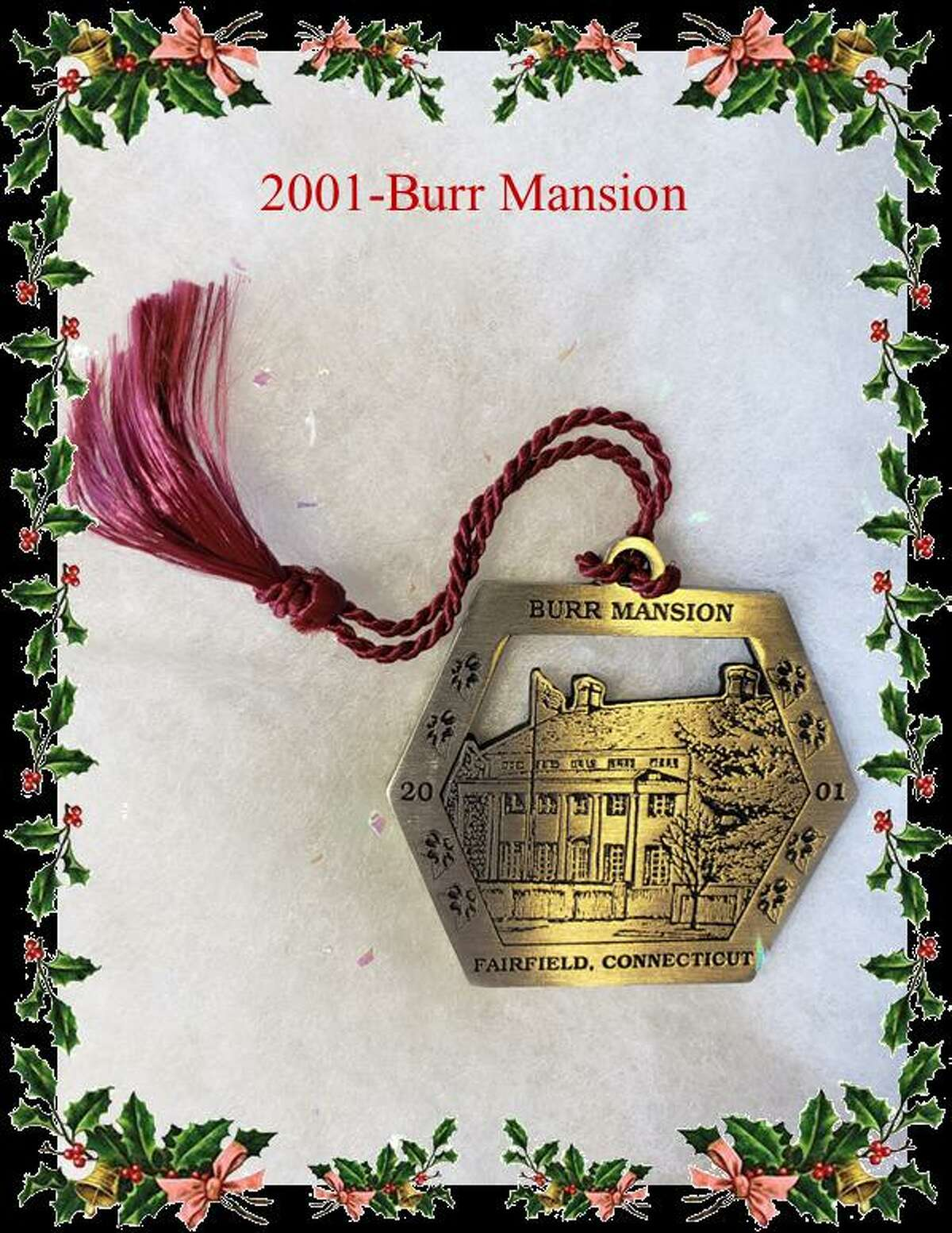 Six different Holiday ornaments from the company Woodbury Pewter, and of historic landmark buildings in Fairfield are available for purchase from the Fairfield Chamber of Commerce. The ornaments are $20 each, or $100 for a set of six ornaments. Pictured is one of the ornaments, the 2001 Burr Mansion.