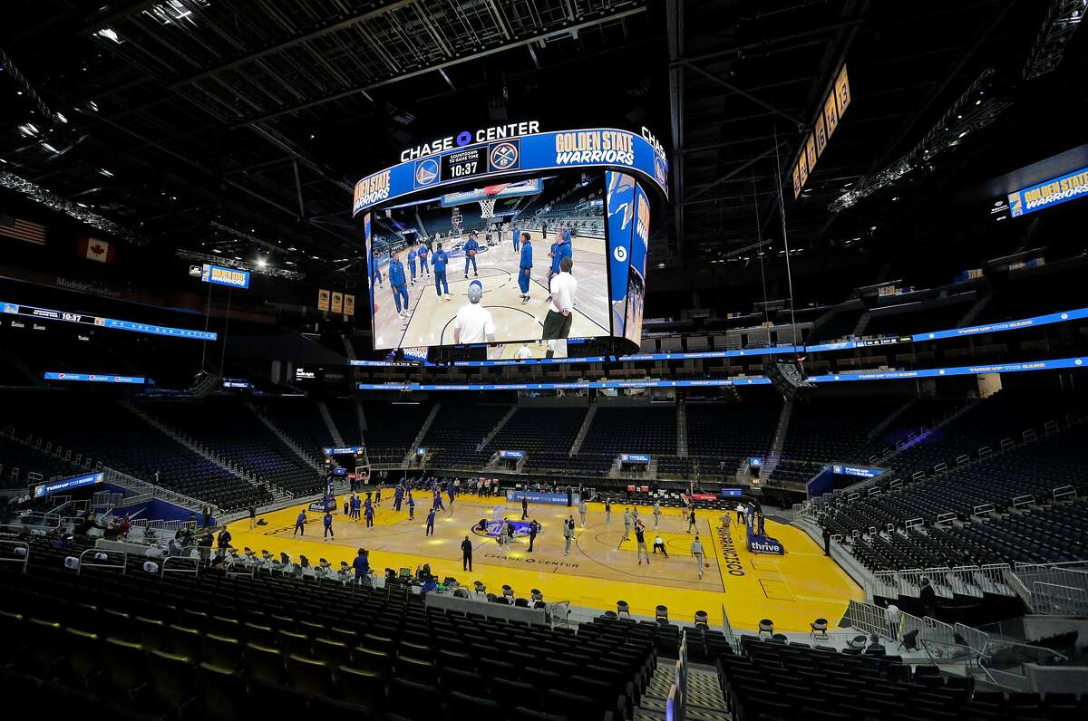 Teams warm up in front of an empty house before the Warriors play the Nuggets in a preseason game at Chase Center on Dec. 12.