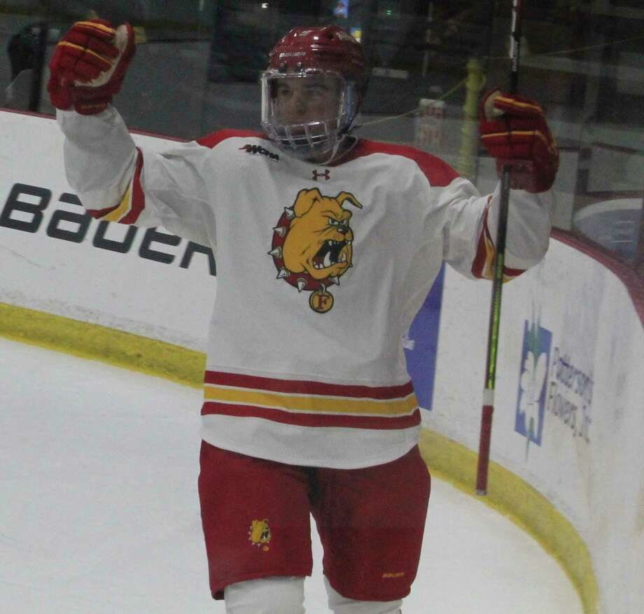 Ferris' Lucas Finner, pictured here celebrating a goal last season, scored against Northern Michigan on Wednesday. (File photo)