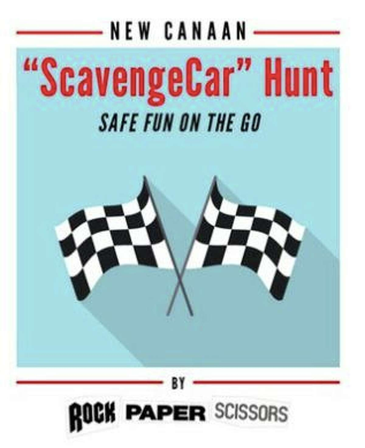 The New Canaan ScavengeCar Hunt by the New Canaan business, Rock Paper Scissors, and benefitting Meals on Wheels of New Canaan is going on now around town through January 2021. Pictured is a flyer for the hunt.