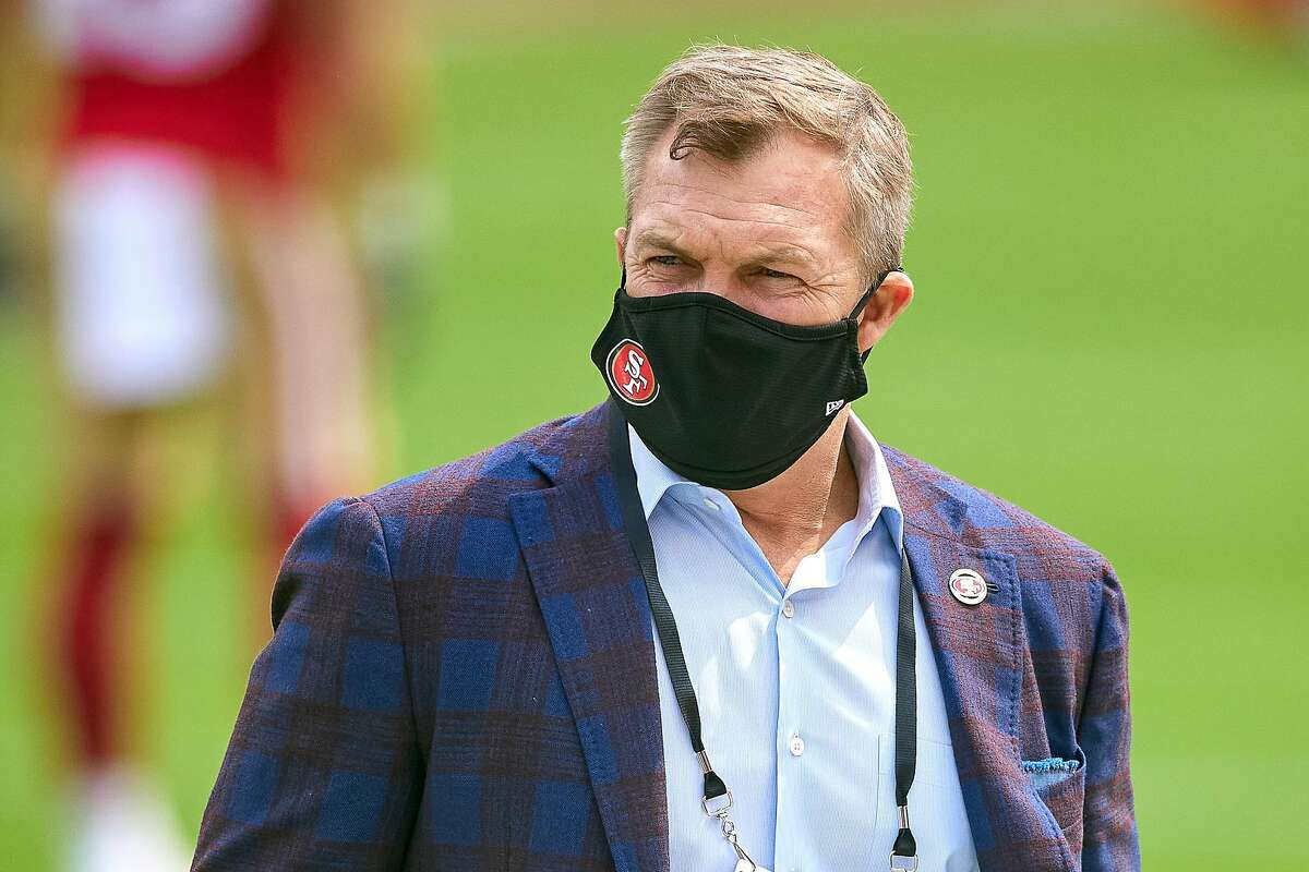 San Francisco 49ers General Manager John Lynch looks on wearing a facemask prior to the start of the NFL game between the San Francisco 49ers and the Arizona Cardinals on September 13, 2020, at Levi's Stadium in Santa Clara, California.