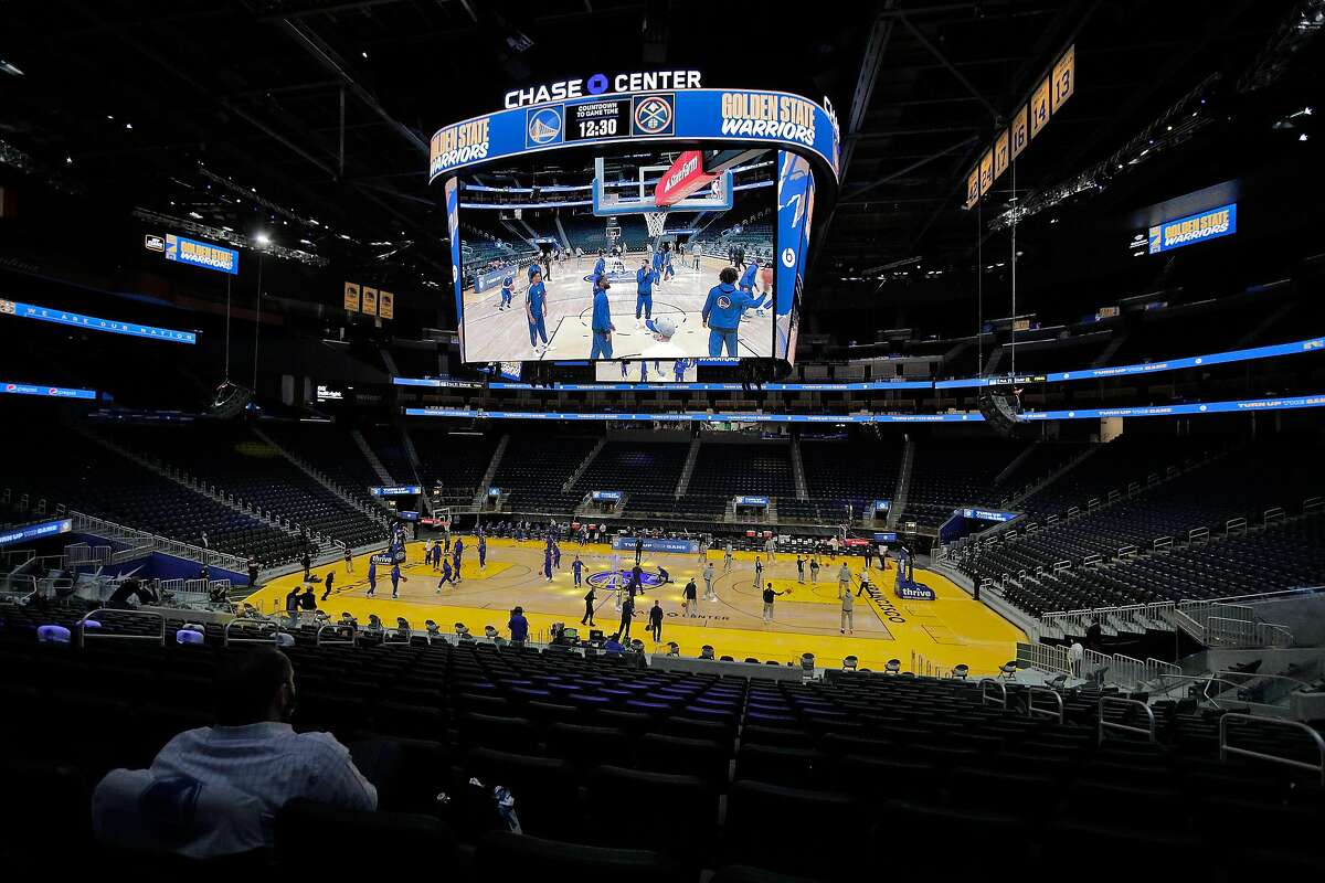 The Warriors take warmups at an empty Chase Center before their first preseason game Dec. 12.