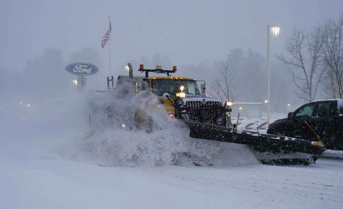 Here we go ... The National Weather Servide says a nor'eastercould drop up to a foot of snow before the storm leaves the area on Wednesday. In this photograph, a snow plow clears snow off of Columbia Turnpike on Thursday, Dec. 17, 2020, in East Greenbush, N.Y. (Paul Buckowski/Times Union)