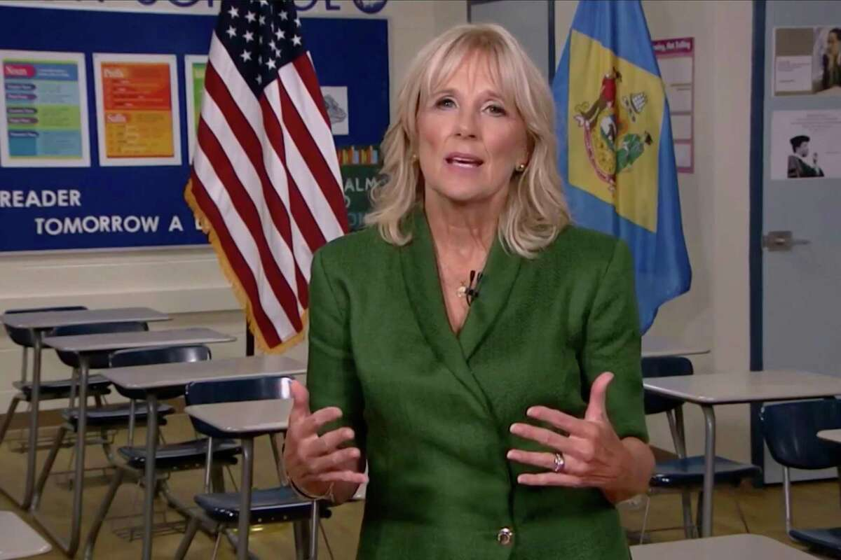Dr. Jill Biden speaks from a classroom during the virtual Democratic National Convention on Aug. 18.