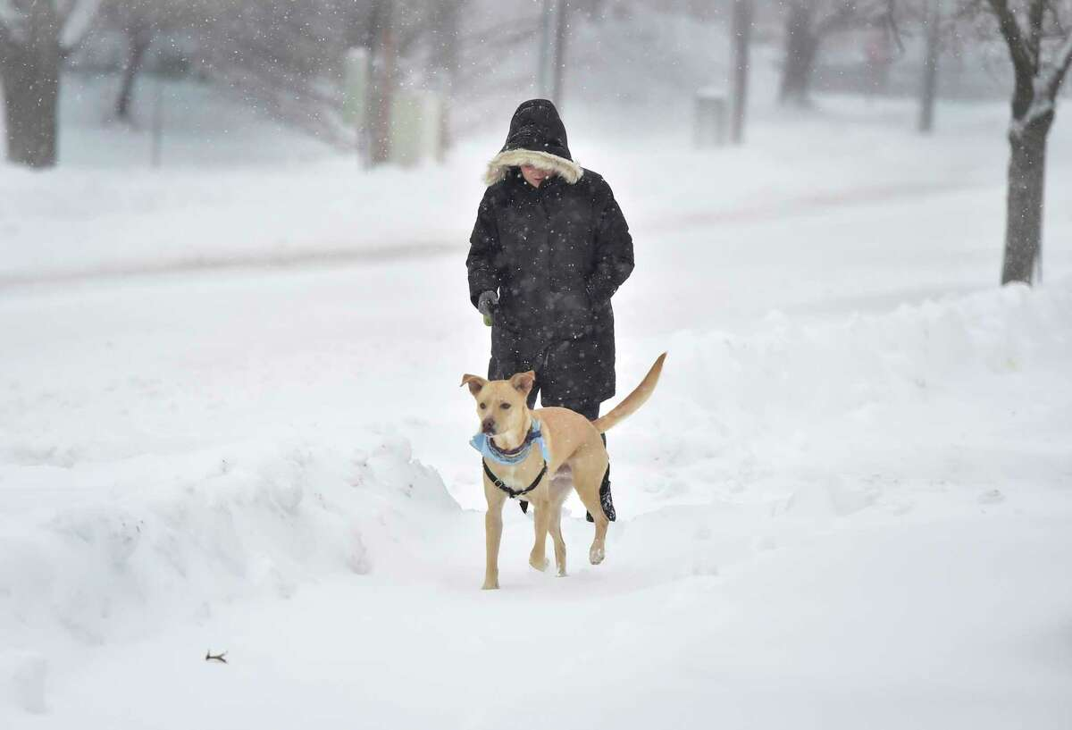 Branford, Connecticut - Thursday, December 17, 2020: Naomi Kunstler of Branford takes her labrador-mix Macklyn for an early Thursday morning snowy walk along Montowese Street in Branford.
