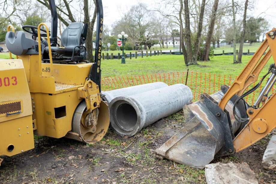 Construction vehicles rest at MLK Park in Willis, Thursday, Feb. 20, 2020. The city has completed park renovations and plans to start drainage improvements soon. Photo: Gustavo Huerta, Houston Chronicle / Staff Photographer / Houston Chronicle © 2020