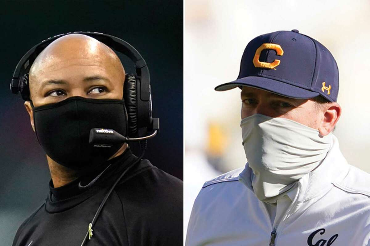Stanford head football coach David Shaw, left, and Cal football coach Justin Wilcox.
