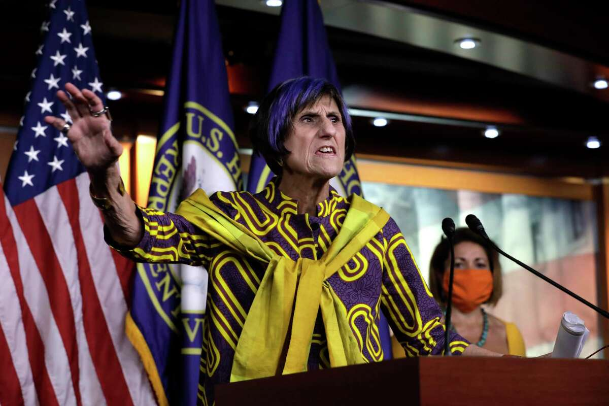Congresswoman Rosa DeLauro (D-CT) speaks at a press conference ahead of House votes on the Child Care Act on Capitol Hill in Washington, D.C. on July 29, 2020.