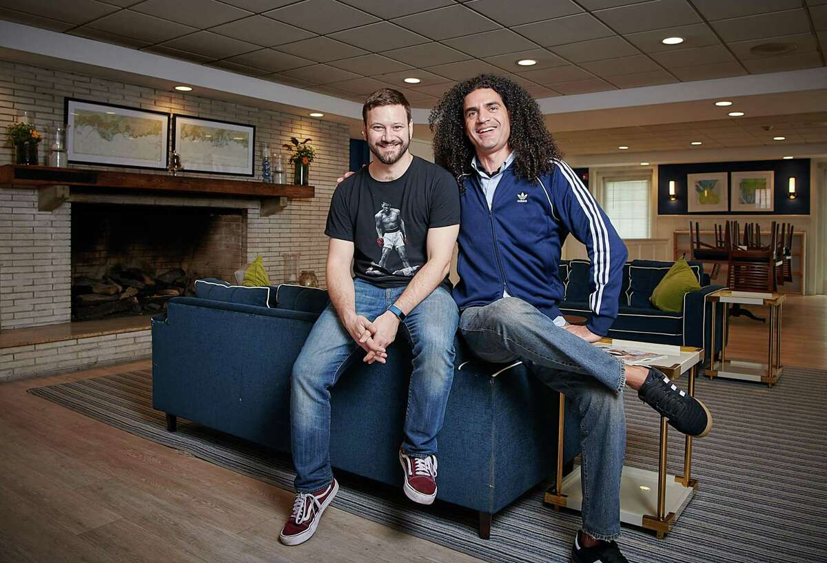 Joe Gerics, left, and Beecher, cofounders of Fairfield Comedy Club, will host a virtual end-of-the-year review featuring comedian Christian Finnegan, Dec. 30.