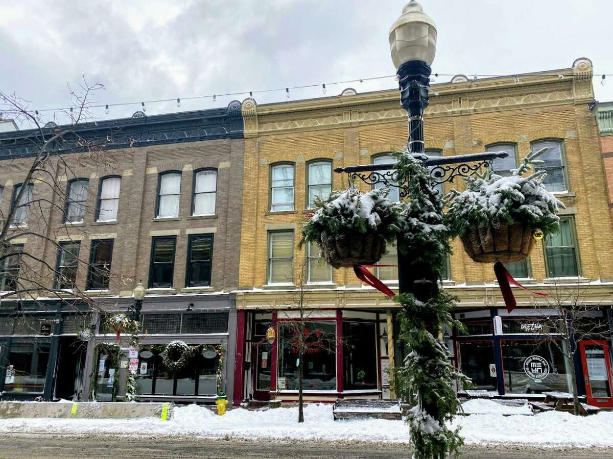 Holiday decorations on Washington Street were covered in snow after a winter storm brought over 5 inches to Norwalk, Conn. on Dec. 17, 2020.