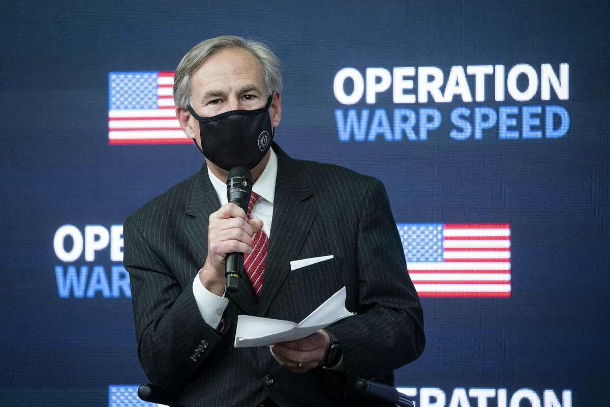 Greg Abbott, governor of Texas, speaks during an Operation Warp Speed vaccine summit at the White House in Washington, D.C., U.S., on Tuesday, Dec. 8, 2020. President Trumpcelebrated the development of coronavirus vaccines at a White House summit on Tuesday and vowed to use executive powers if necessary to acquire sufficient doses, as the number of U.S. cases surpassed 15 million. Photographer: Al Drago/Bloomberg