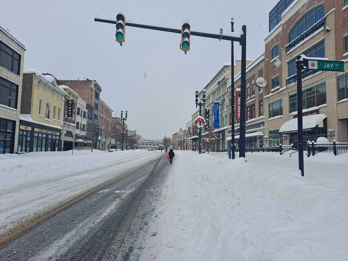 Scene from downtown Schenectady after the historic snow storm Thursday, Dec. 17, 2020.