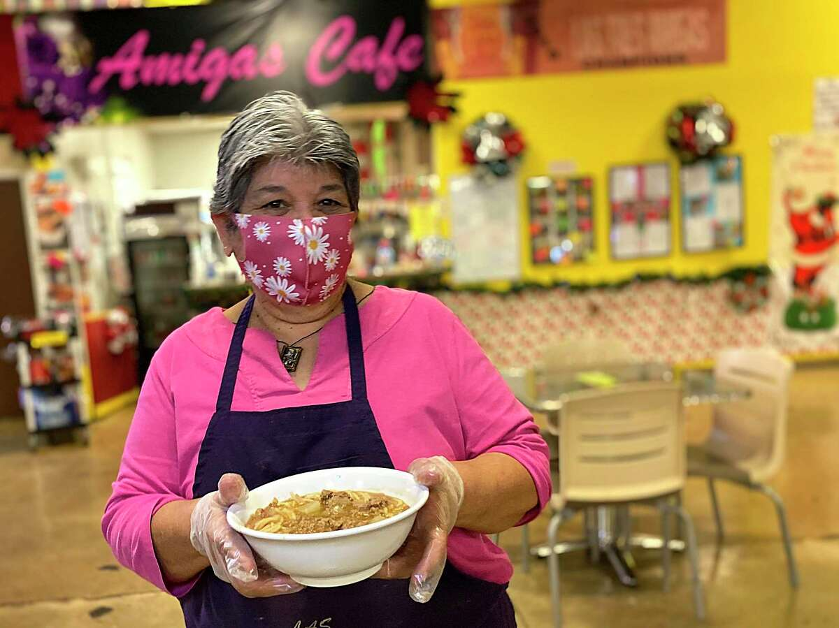 Mary Alvarado is the force behind an award-wining bowl of fideo loco at her Amiga's Cafe inside the PicaPica Plaza marketplace on S.E. Military Drive.