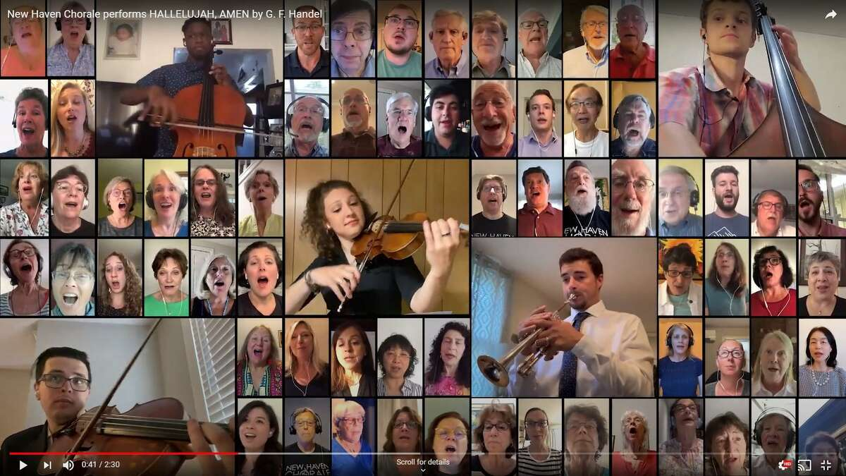 A screenshot of the holiday concert on NewHavenChorale.org and YouTube.