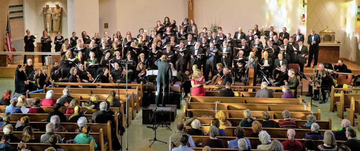 The New Haven Chorale during last year's holiday gathering.