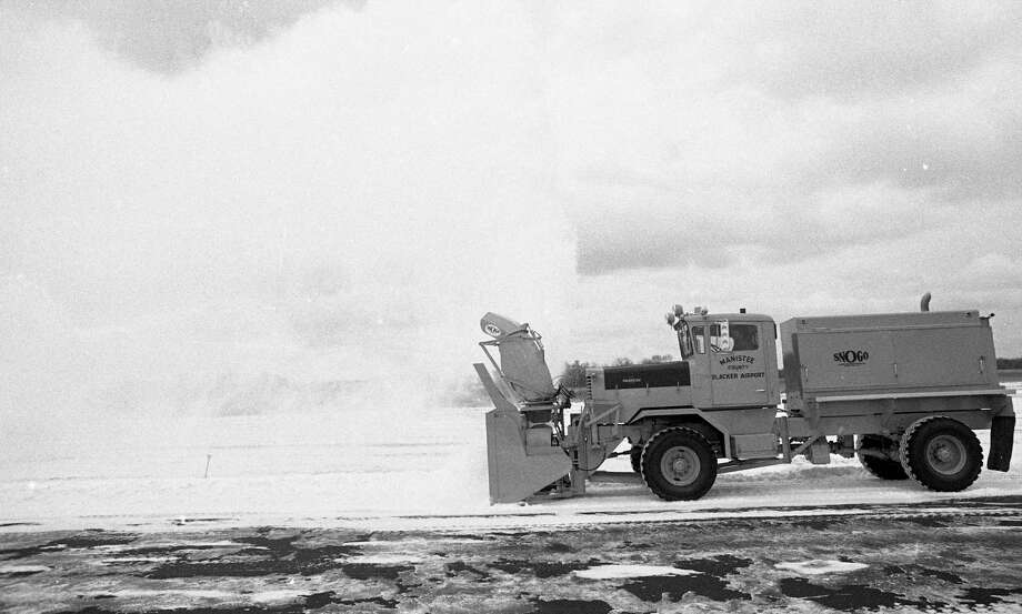 A new 1980 Oshkosh snowblower made its debut at the Manistee County Blacker Airport 40 years ago today.(Manistee County Historical Museum photo)