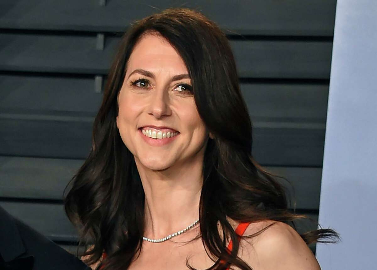 In this March 4, 2018 photo, then-MacKenzie Bezos arrives at the Vanity Fair Oscar Party in Beverly Hills, Calif.