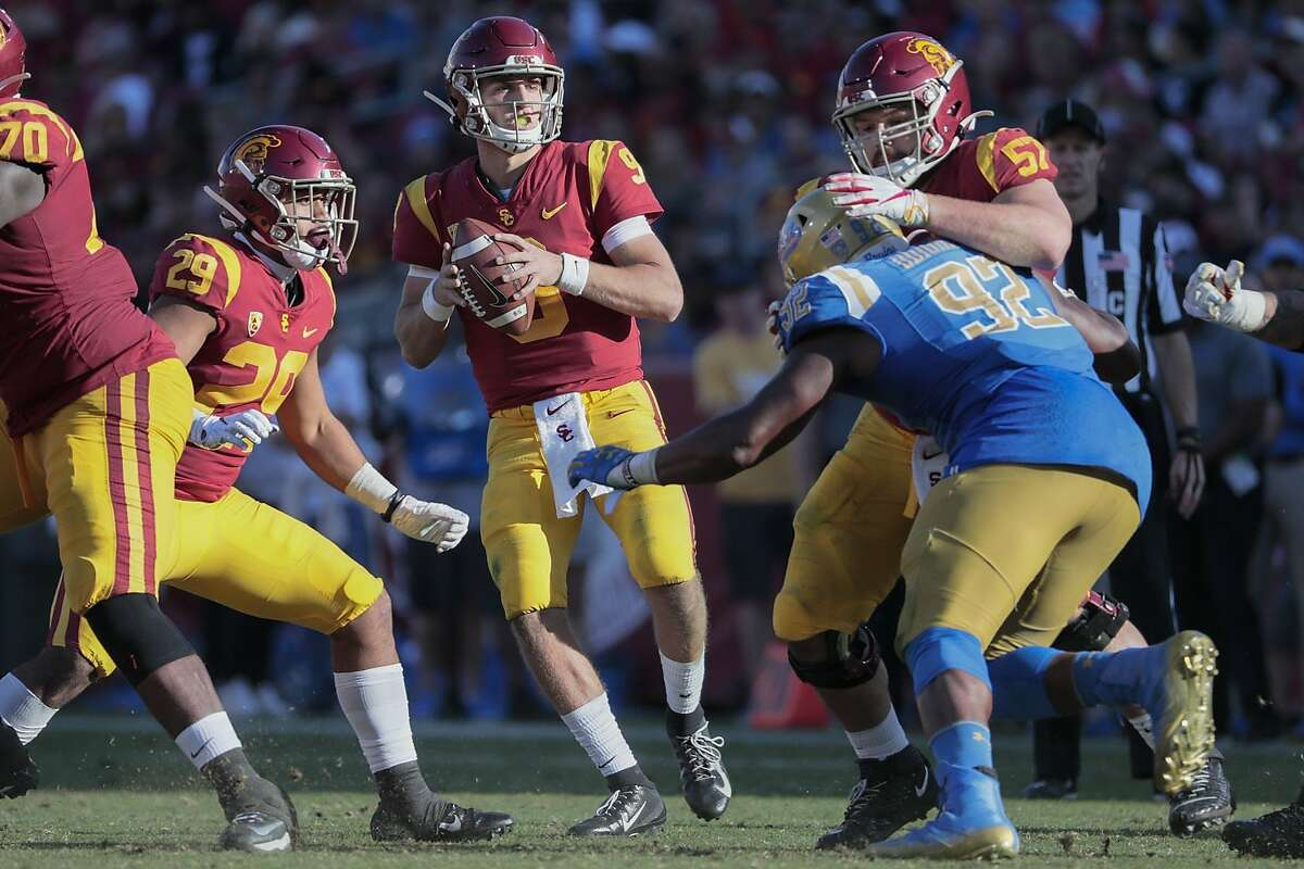 USC quarterback Kedon Slovis, who has had back-to-back five TD games, will lead the Trojans against Oregon in the Pac-12 championship game at 5 p.m. Friday. (Ch. 2, 40)