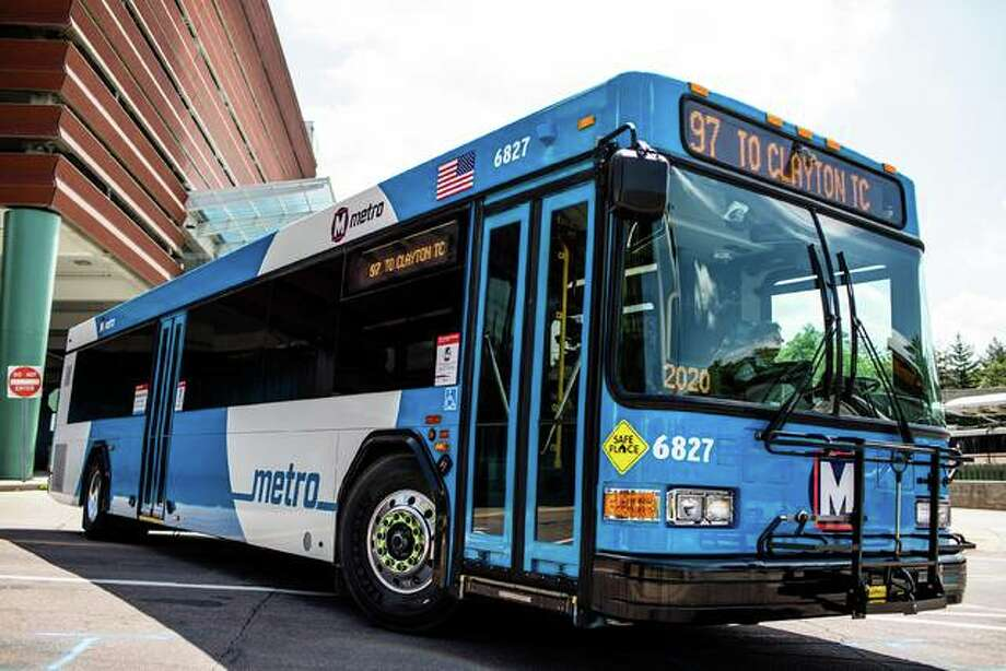 MetroBus and MetroLink vehicles feature an updated color scheme that will ultimately be rolled out across the system as individual vehicles are updated during the normal course of maintenance and operations. Photo: Courtesy Of MetroLink