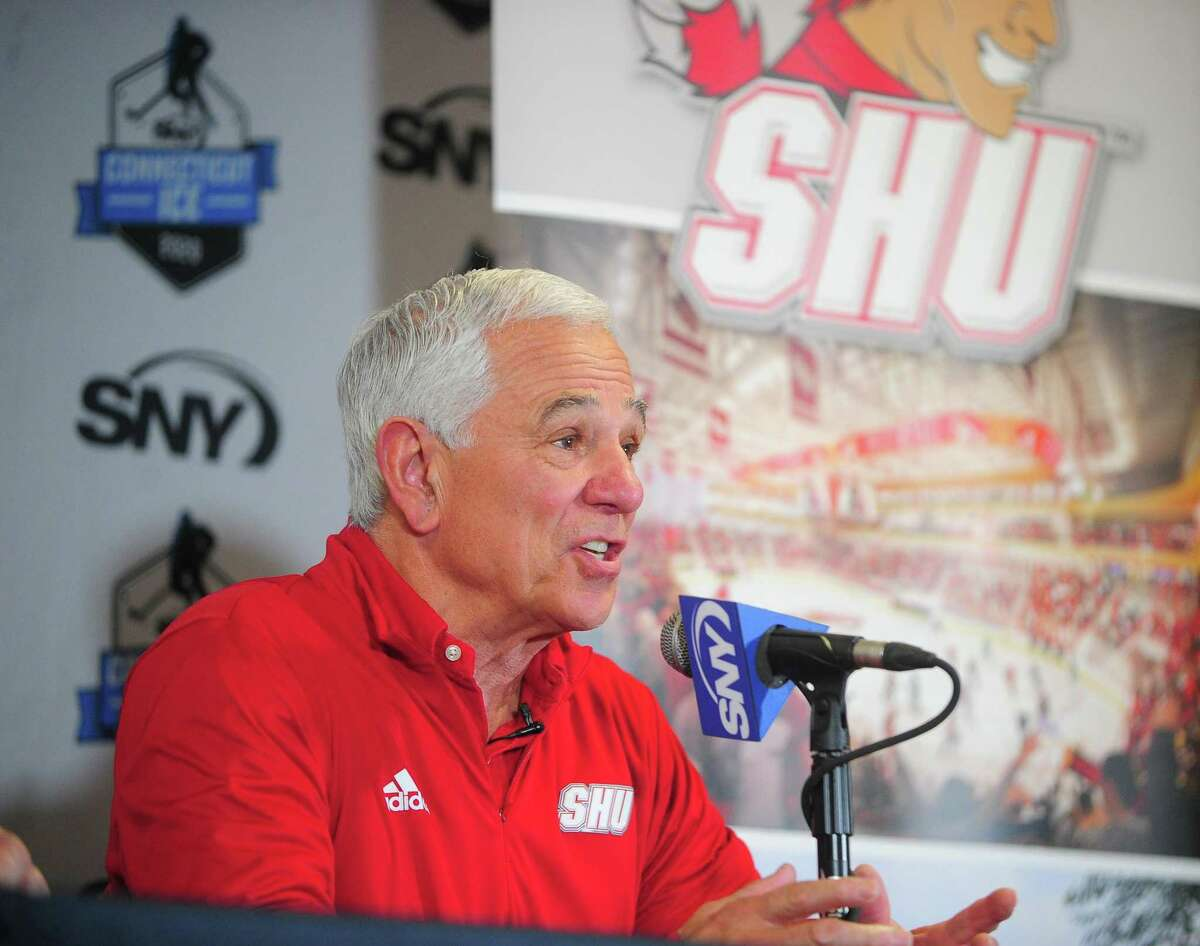 Sacred Heart University Director of Athletics Bobby Valentine speaks during a news conference in January.