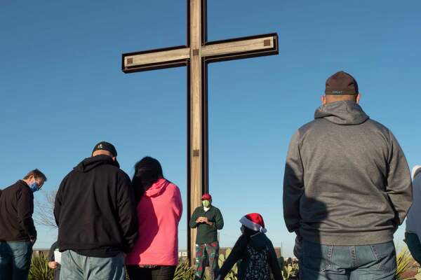 John Bushman welcomes everyone 12/17/2020 at the cross and worship area along Hwy 191, as he talks about the reason for the season, Jesus Christ. Tim Fischer/Reporter-Telegram