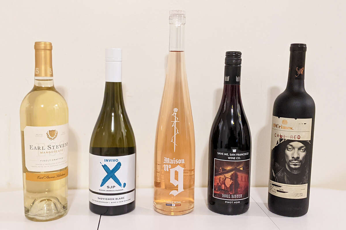 Left to right: a selection of wines from E-40, Sarah Jessica Parker, Post Malone, Train and Snoop Dogg.