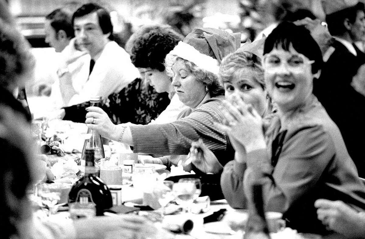 An office Christmas party in Newport, Wales, in 1989.