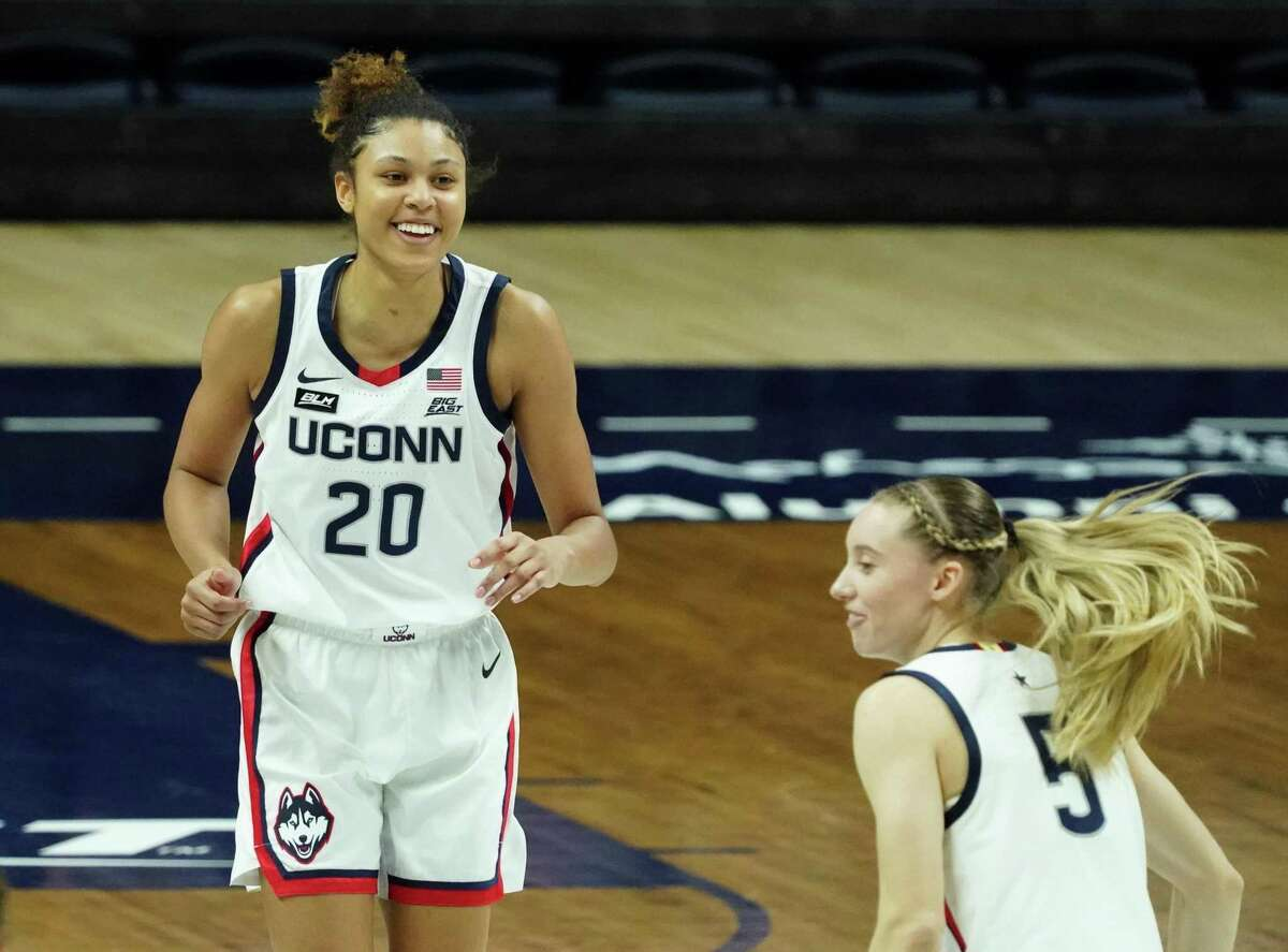 UConn forward Olivia Nelson-Ododa (20) reacts after her 3-point basket against Creighton on Thursday in Storrs.
